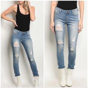 Denim - CHIYYA Medium Blue distressed jeans